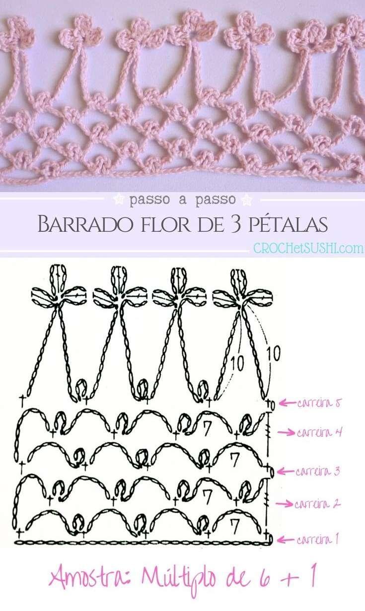 Barrado de flor com 3 pétalas passo a passo