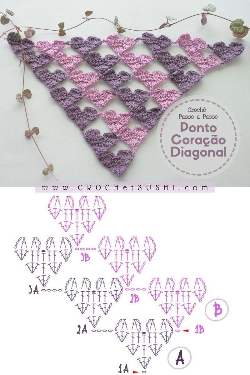 Ponto coração diagonal passo a passo e gráfico para imprimir