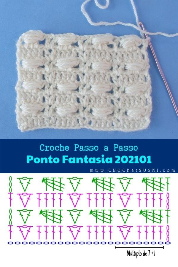 Vídeo e Amostra de Ponto Fantasia de Crochê 202101 Passo a Passo
