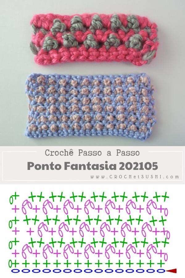 Amostra de Ponto Fantasia de Crochê 202105 + vídeo e gráfico