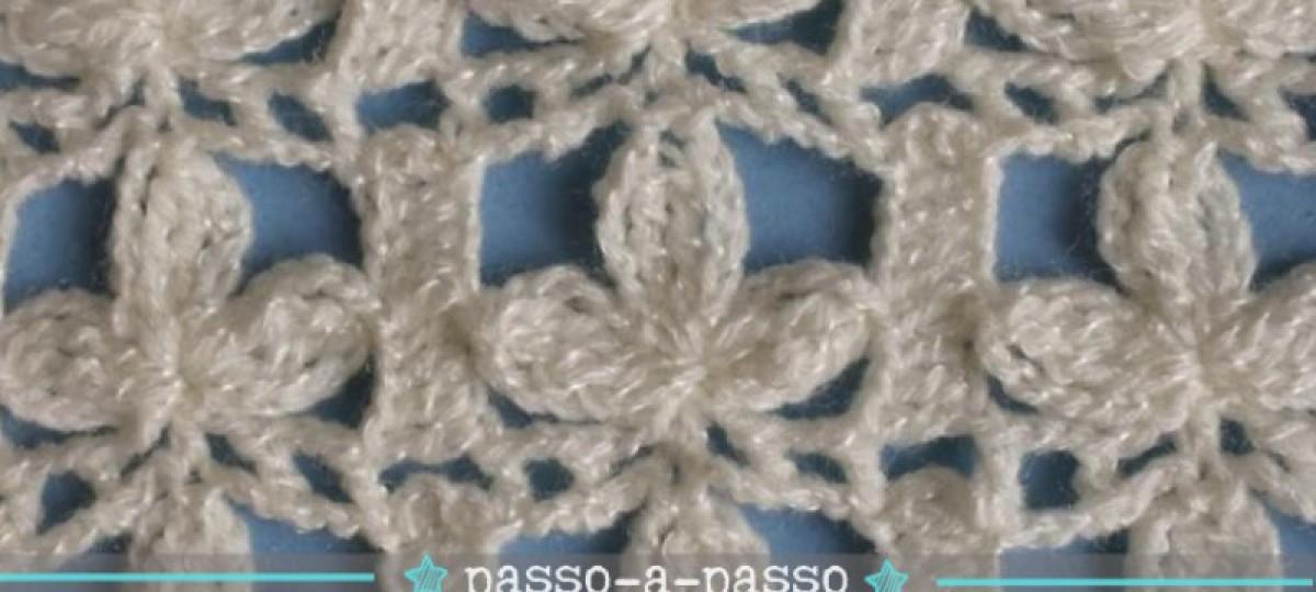 Tutorial e gráfico : Ponto 3 pétalas de crochê