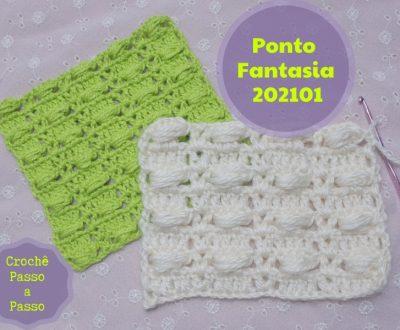 Amostra Ponto Fantasia de Crochê 202101 Passo a Passo